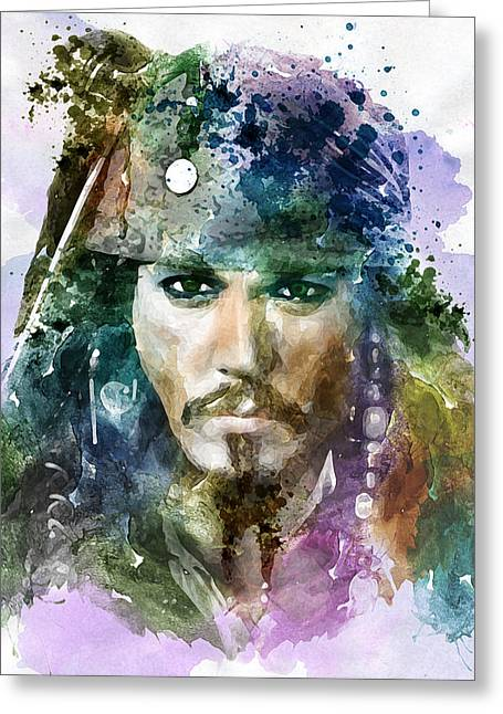 Sparrow Mixed Media Greeting Cards - Jack Sparrow watercolor portrait Greeting Card by Marian Voicu