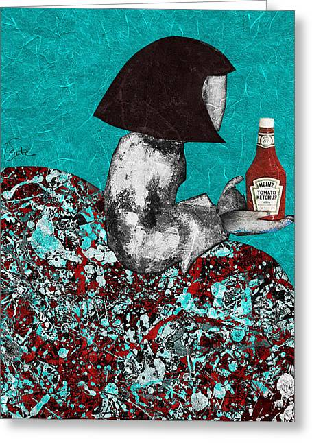 Ketchup Digital Greeting Cards - Jack the Dripper and Velazquez. New York PANTONE 562 Greeting Card by Begonia Lafuente