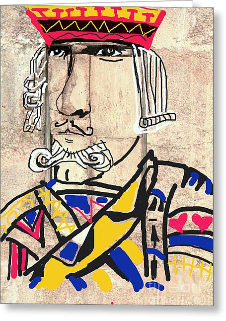 Recently Sold -  - Red Abstracts Greeting Cards - JACK the KING Greeting Card by Joe Jake Pratt