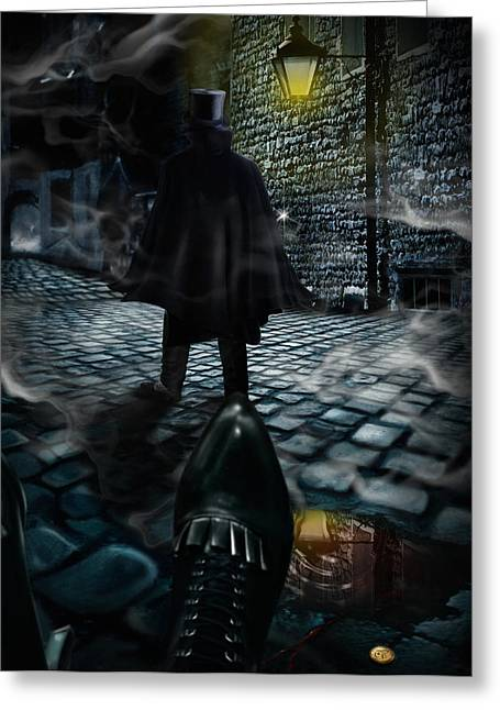 Night Lamp Greeting Cards - Jack the ripper Greeting Card by Alessandro Della Pietra