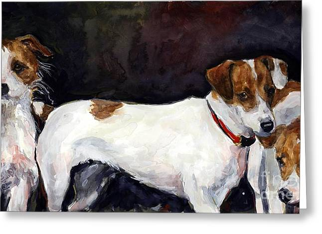 Jack Russell Terrier Greeting Cards - Jack Trio Greeting Card by Molly Poole