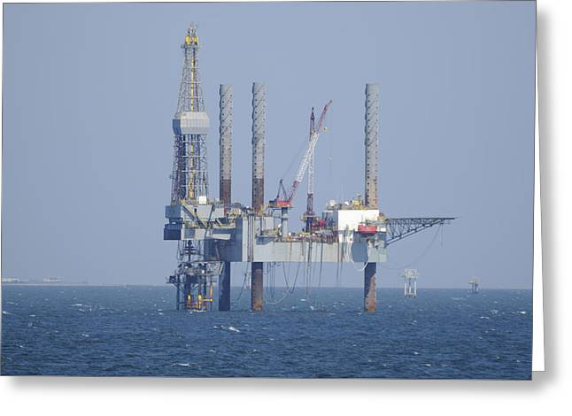Sea Platform Greeting Cards - Jack Up Rig in the Gulf Greeting Card by Bradford Martin