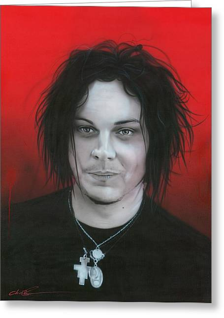 The White Stripes Greeting Cards - Jack White Greeting Card by Christian Chapman Art