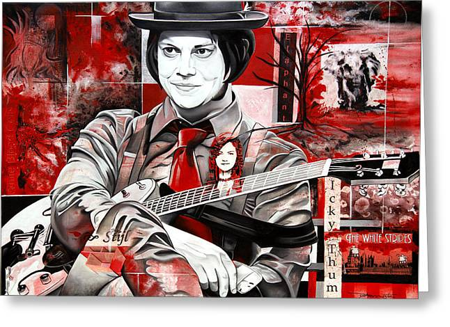 Red And White Greeting Cards - Jack White Greeting Card by Joshua Morton