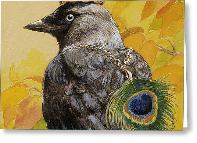 Jackdaws Greeting Cards - Jackdaw Triumphant Greeting Card by Tracie Thompson