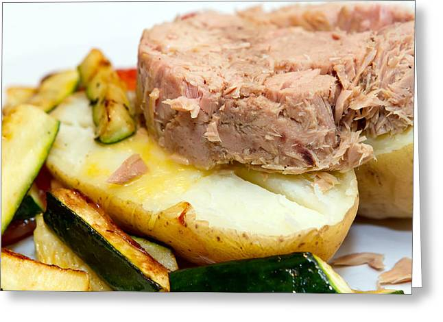 Salad Dressing Greeting Cards - Jacket Potato With Tuna Filling Greeting Card by Fizzy Image