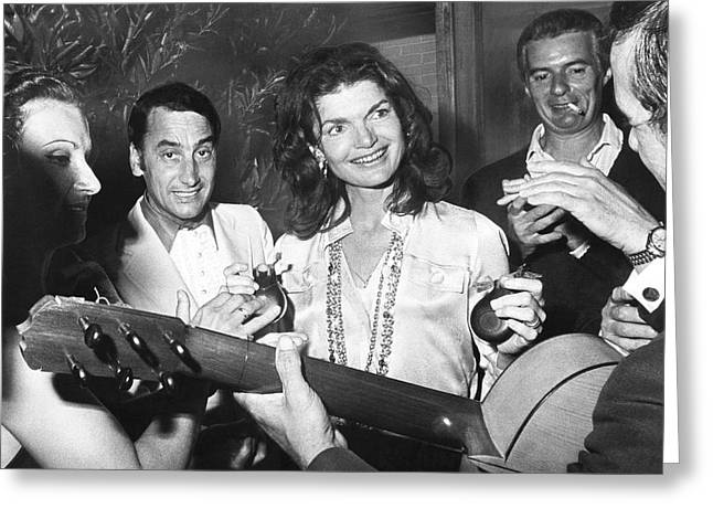 Jackie Kennedy Onassis Greeting Cards - Jackie Kennedy Playing Music Greeting Card by Underwood Archives