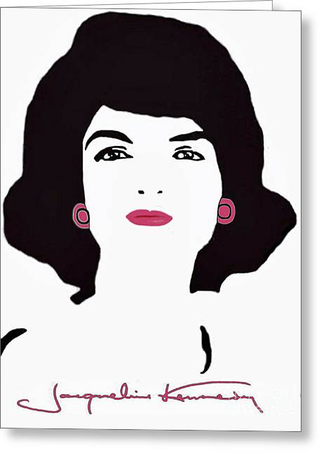 Jackie Kennedy Onassis Greeting Cards - Jackie Kennedy Signature Pink Lips Greeting Card by Jost Houk