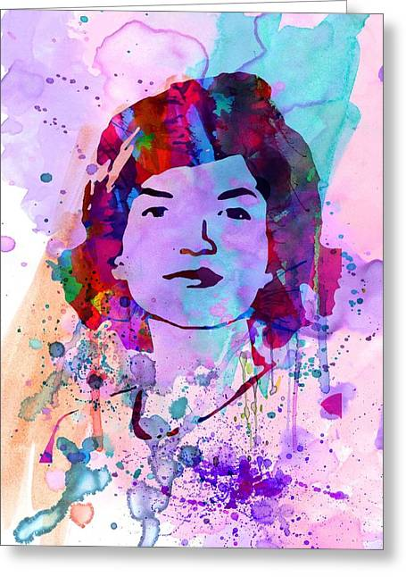 Rights Paintings Greeting Cards - Jackie Kennedy Watercolor Greeting Card by Naxart Studio