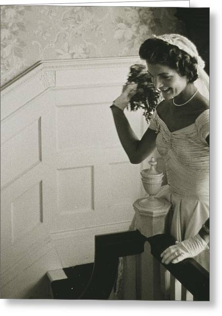 Wedding Photo Greeting Cards - Jackie Kennedy Wedding Greeting Card by Toni Frissell