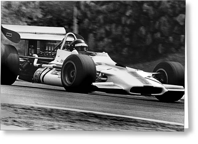Canadian Grand Prix Greeting Cards - Jackie Oliver BRM Greeting Card by Mike Flynn