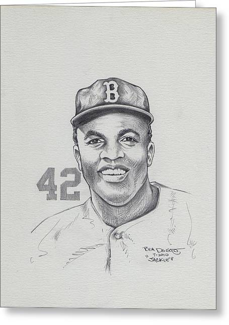 Los Angeles Dodgers Drawings Greeting Cards - Jackie Robinson Greeting Card by Ben De Soto