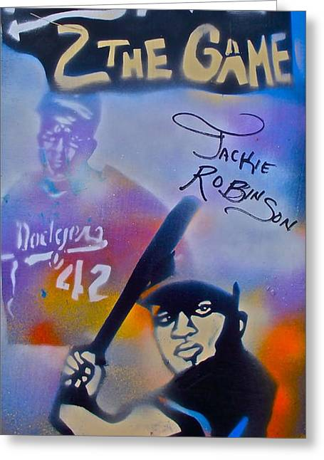 Jackie Robinson Blue Greeting Card by Tony B Conscious
