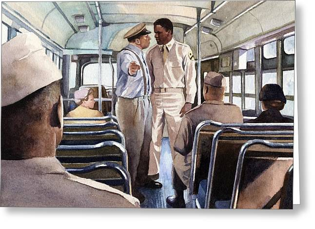 Baseball Paintings Greeting Cards - Jackie Robinson Boarding an Army Bus Greeting Card by Rob Wood
