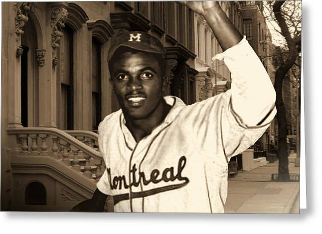 Jackie Robinson Greeting Cards - Jackie Robinson Comes to Brooklyn Greeting Card by Schwartz