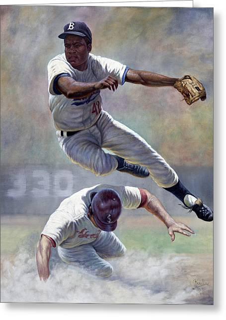 Football Words Greeting Cards - Jackie Robinson Greeting Card by Gregory Perillo