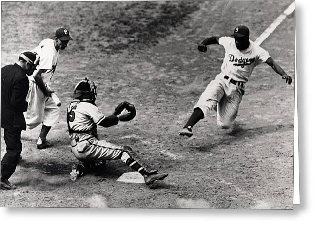 Brooklyn Dodgers Greeting Cards - Jackie Robinson in Action Greeting Card by Gianfranco Weiss