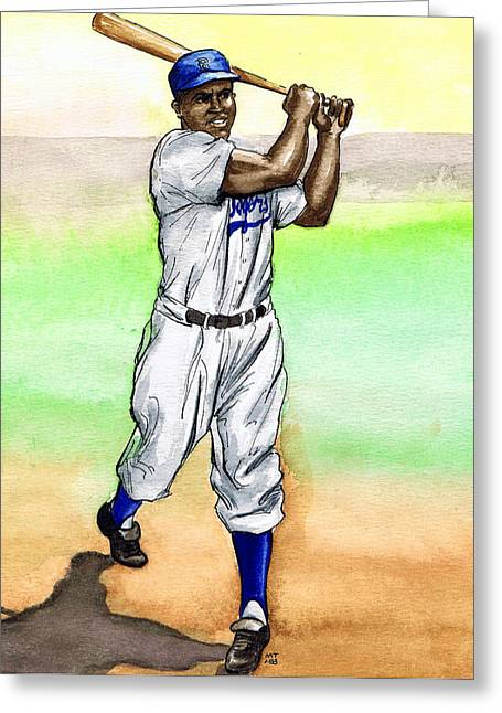 Jackie Robinson Greeting Card by Mel Thompson