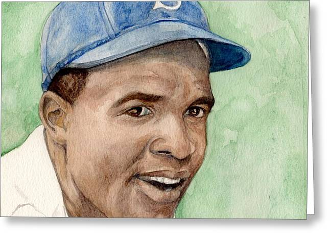Ebbets Greeting Cards - Jackie Robinson Greeting Card by Nigel Wynter