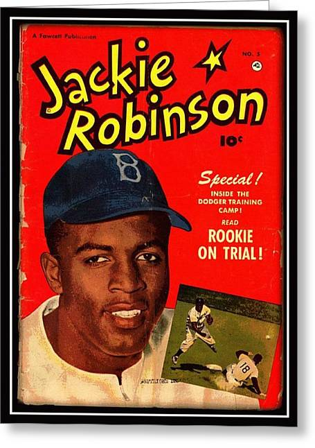 Baseball Paintings Greeting Cards - Jackie Robinson Nostalgic Greeting Card by Unknown