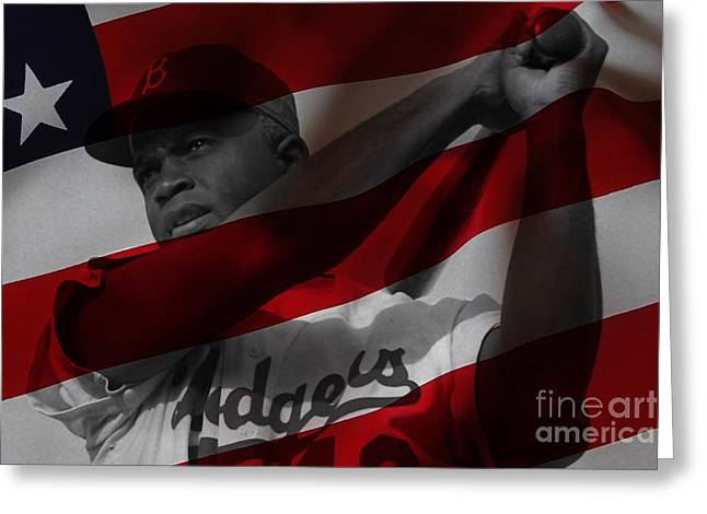 Jackie Robinson Greeting Cards - Jackie Robinson Number 42 Greeting Card by Marvin Blaine
