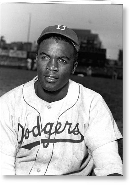 Brooklyn Dodgers Greeting Cards - Jackie Robinson Portrait Greeting Card by Gianfranco Weiss