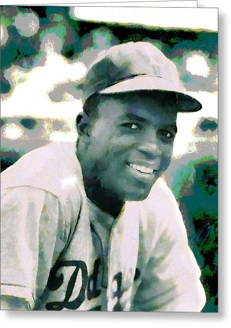 Baseball Field Mixed Media Greeting Cards - Jackie Robinson Poster Greeting Card by Dan Sproul
