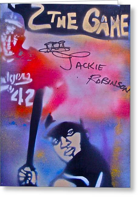 Aerosol Paintings Greeting Cards - Jackie Robinson Red Greeting Card by Tony B Conscious