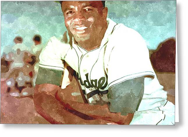 Jackie Robinson Greeting Card by Gianfranco Weiss