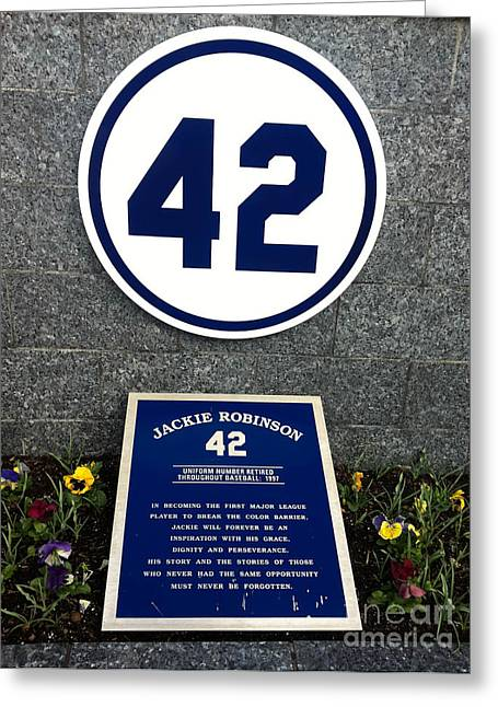 Jackie Robinson Greeting Cards - Jackie Robinson Tribute Yankee Stadium Greeting Card by Amy Cicconi