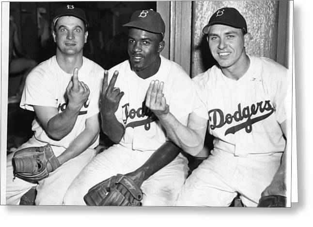 Brooklyn Dodgers Greeting Cards - Jackie Robinson with Teammates Greeting Card by Gianfranco Weiss