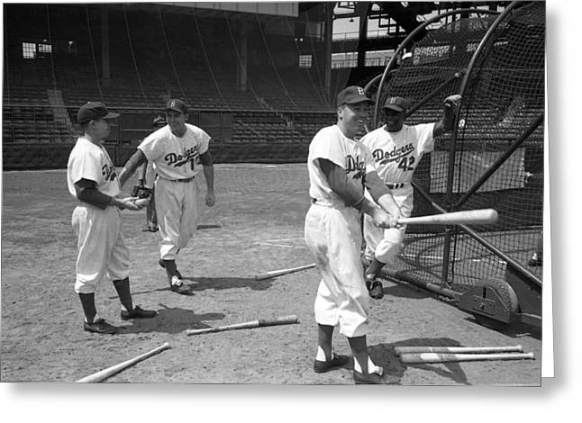 Practicing Greeting Cards - Jackie Robinson And Duke Snider  Greeting Card by Retro Images Archive