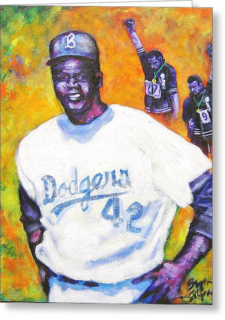 Negro Leagues Paintings Greeting Cards - Jackie Thinking what Im thinking Greeting Card by Bryan Tilford