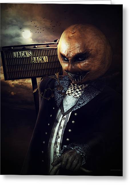 Creepy Digital Art Greeting Cards - Jacks Back Greeting Card by Shanina Conway
