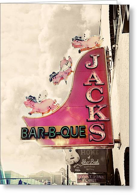 Sign Photographs Greeting Cards - Jacks BBQ Greeting Card by Amy Tyler