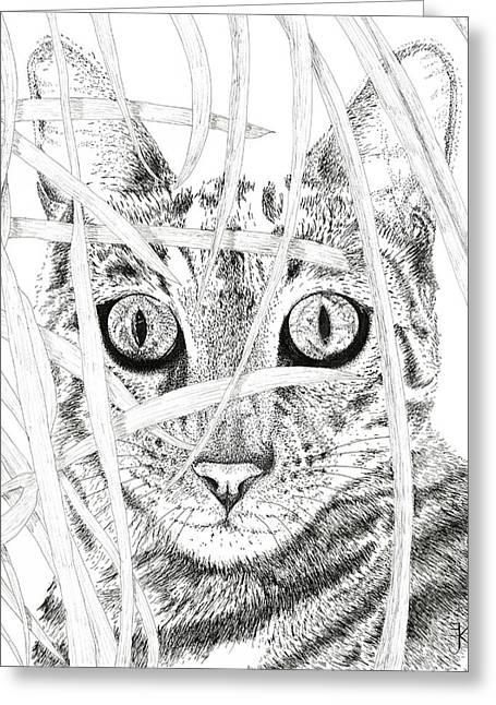 White Serval Greeting Cards - Jackson Greeting Card by E J Klepinger