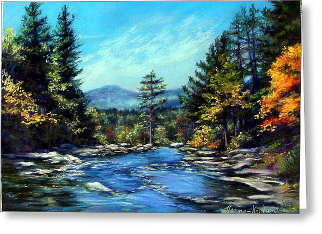 Rapids Pastels Greeting Cards - Jackson Falls New Hampshire Greeting Card by Denise Horne-Kaplan