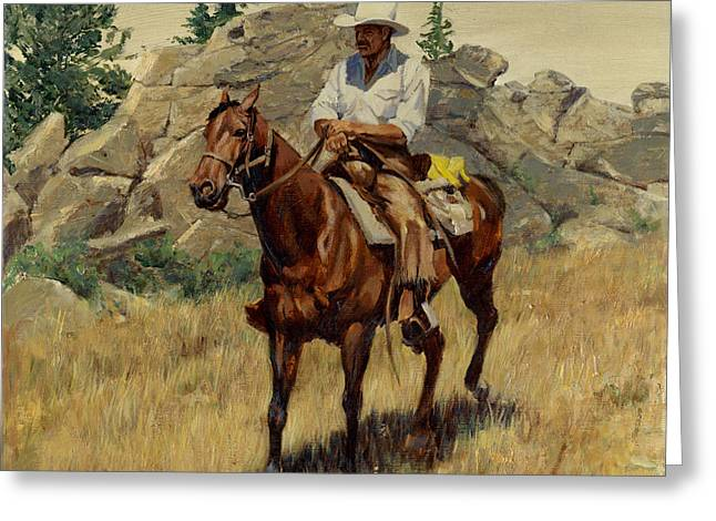 Jackson Greeting Cards - Jackson Hole George on His Horse Greeting Card by Don  Langeneckert