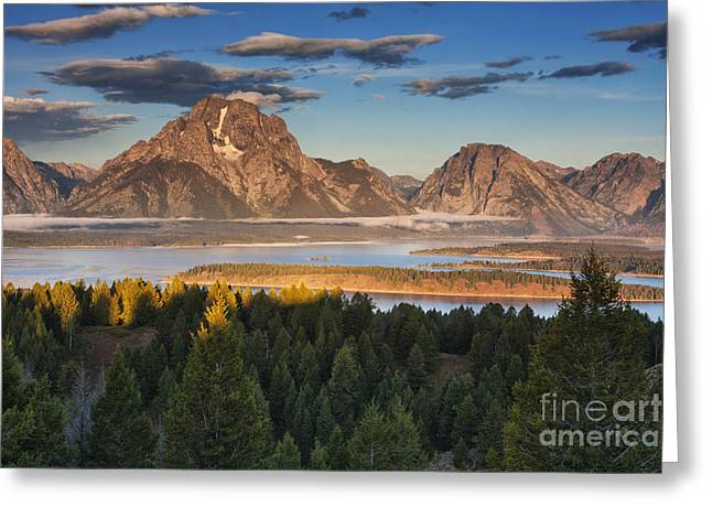 Beauty Mark Greeting Cards - Jackson Lake Morning Greeting Card by Mark Kiver