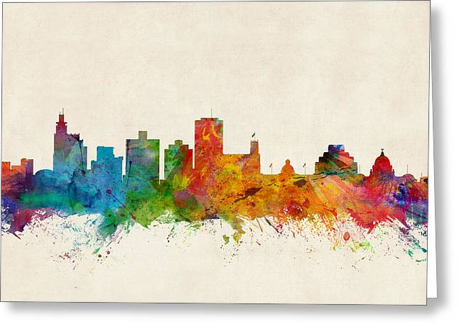 Jackson Greeting Cards - Jackson Mississippi Skyline Greeting Card by Michael Tompsett