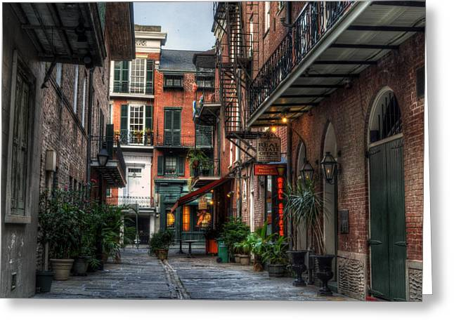 French Doors Greeting Cards - Jackson Square Alley Greeting Card by Greg and Chrystal Mimbs