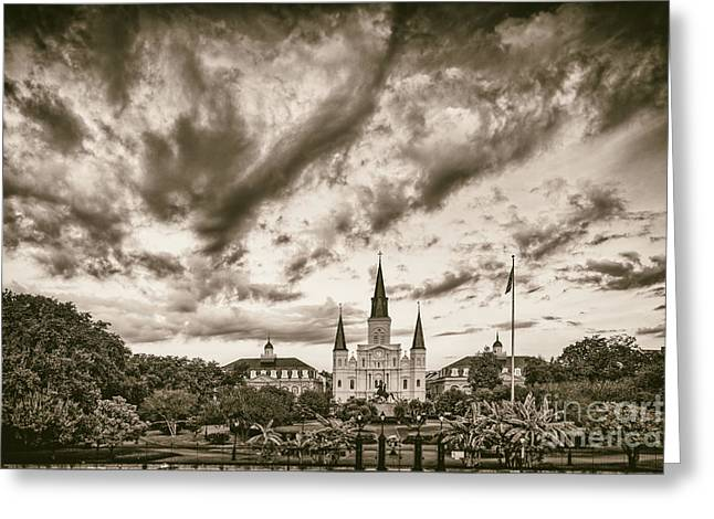 Colonial Architecture Greeting Cards - Jackson Square and St. Louis Cathedral in Black And White - New Orleans Louisiana Greeting Card by Silvio Ligutti