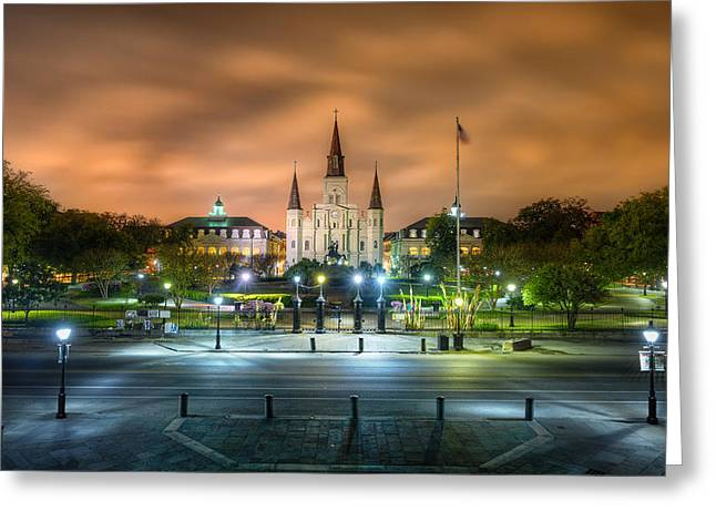 French Quarter Photographs Greeting Cards - Jackson Square at Night Greeting Card by Tim Stanley