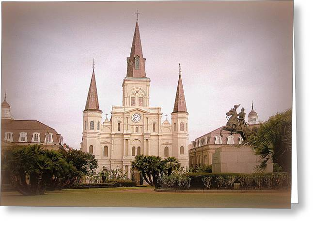 Faa Featured Greeting Cards - Jackson Square at Nine OClock Greeting Card by Toni Abdnour