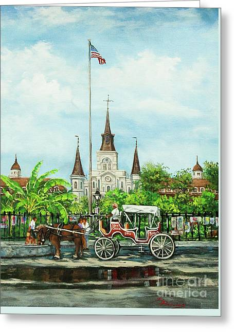 St. Louis Artist Greeting Cards - Jackson Square Carriage Greeting Card by Dianne Parks