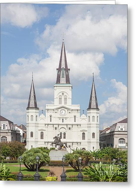 Town Square Greeting Cards - Jackson Square Cathedral Greeting Card by Kay Pickens