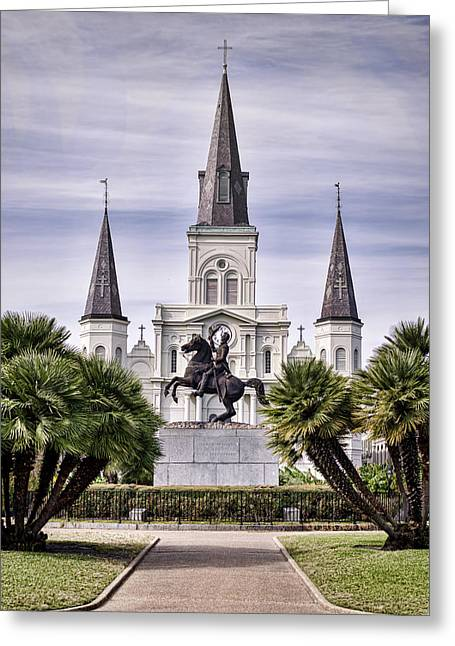 Battle Of New Orleans Greeting Cards - Jackson Square Greeting Card by Heather Applegate