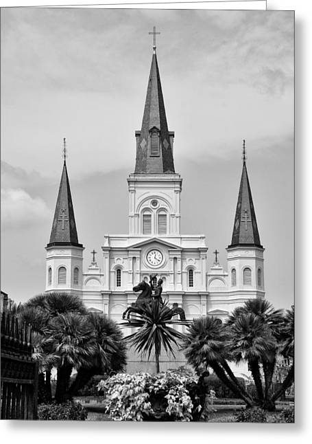 Jackson Square In Black And White Greeting Card by Bill Cannon
