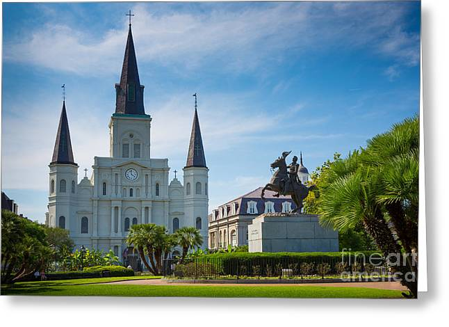 Cajun Greeting Cards - Jackson Square Greeting Card by Inge Johnsson