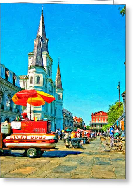 Lucky Dogs Greeting Cards - Jackson Square oil Greeting Card by Steve Harrington